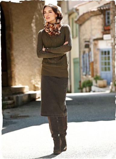 Pencil skirt with boots , i would love this entire outfit with shorter boots  (so as not under the hem of the skirt)
