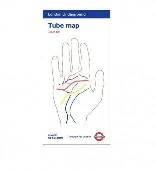 All my lines in the palm of your hand. Tube map cover by Michael Landy, August 2011