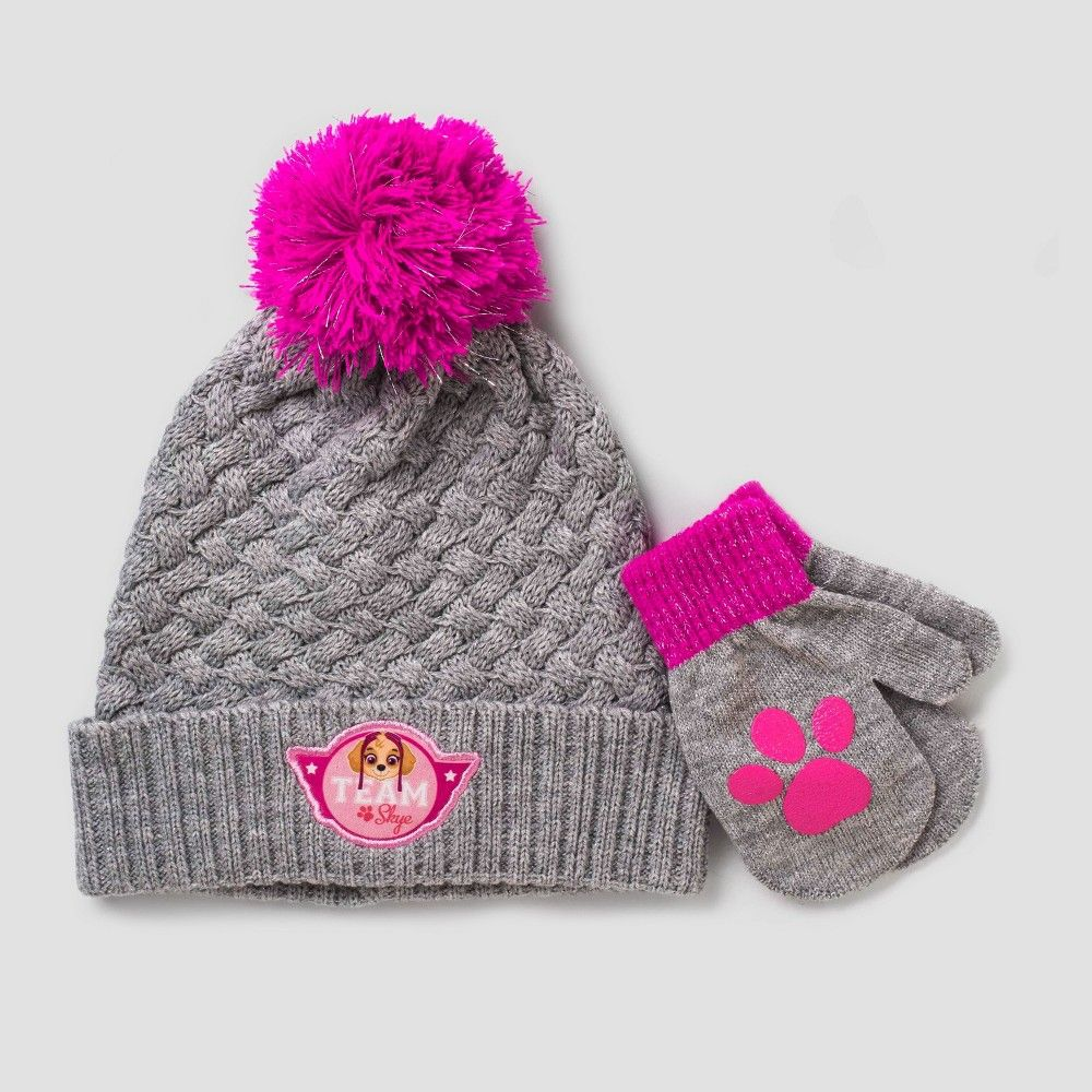 Toddler Girls  Paw Patrol Hat and Mitten Set - Red Gray One Size ... 518fc3c7299b