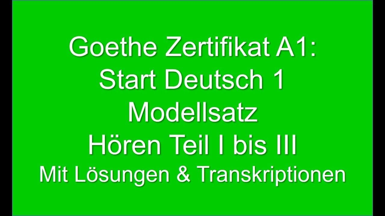 Goethe Zertifikat A1 Start Deutsch 1 German Listening