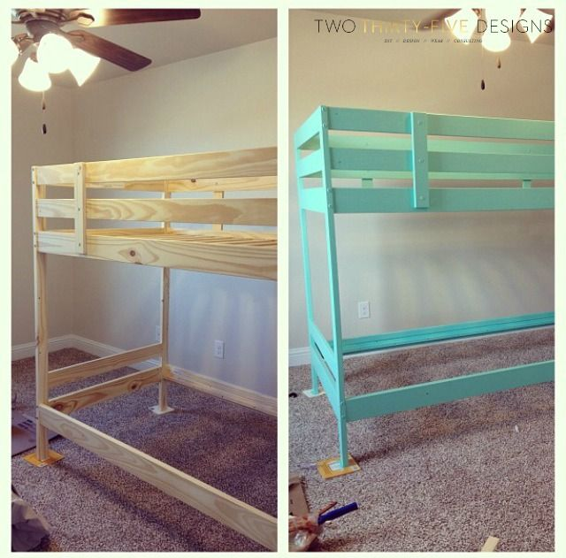 Ikea mydal bunk bed painted blue. Going