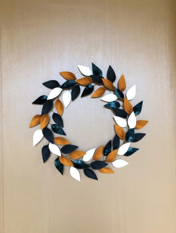 "Photo of Front Door Wreath – 12 ""- Felt Leaf Wreath – Unique Velvet Accent Wreath – Modern – Farmhouse –"