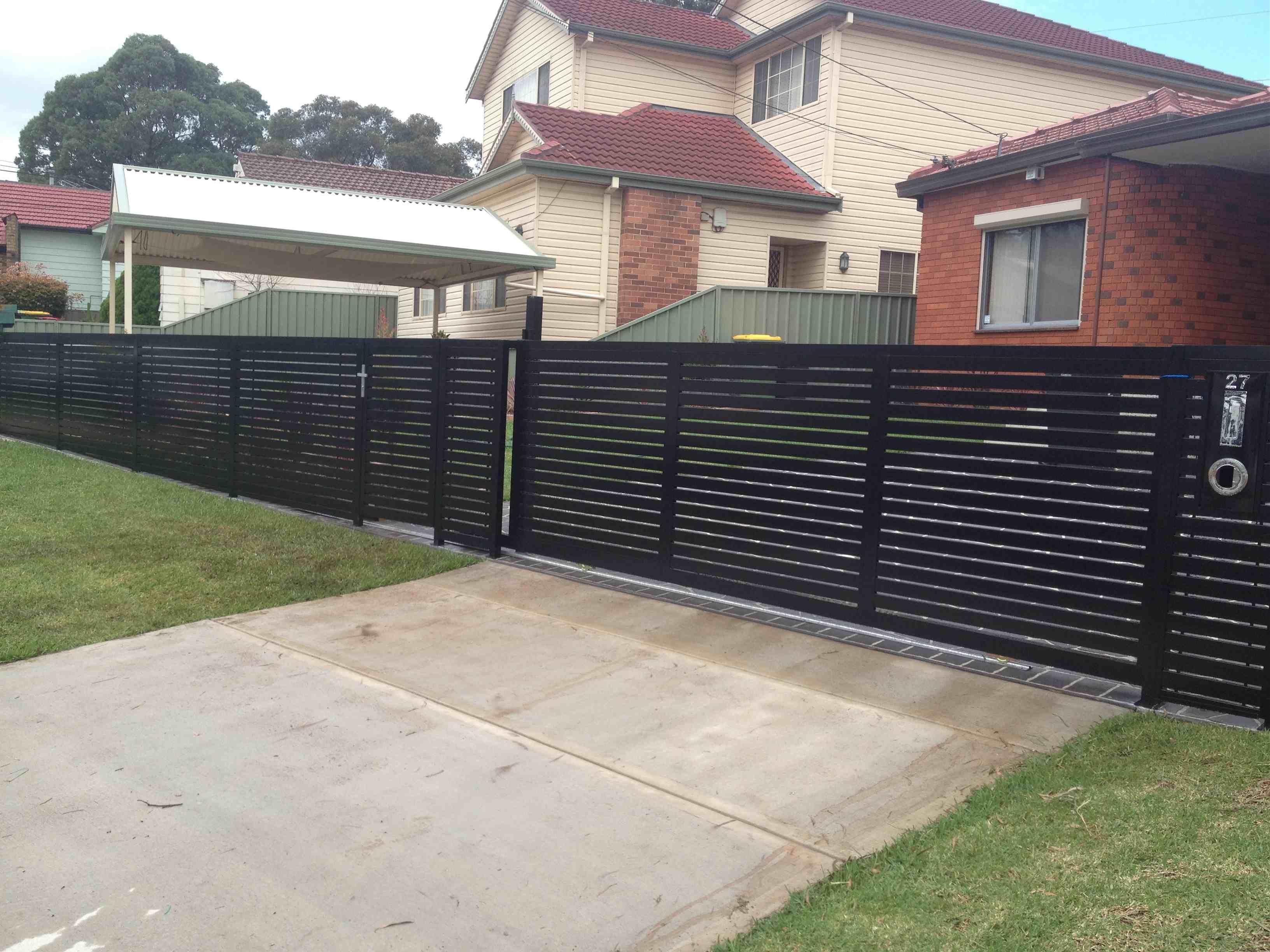 horizontal metal slats driveway google search
