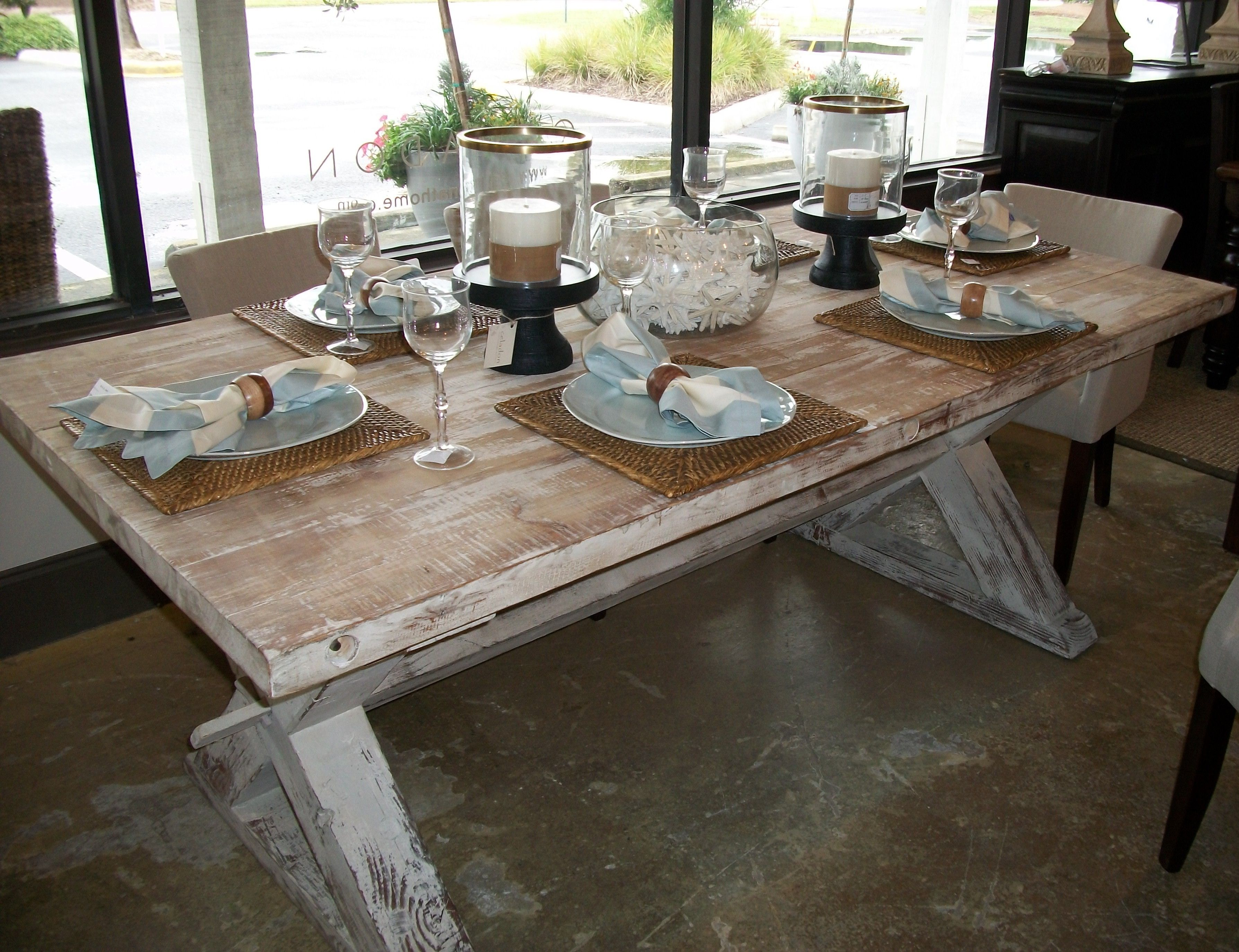 Furniture Classic Unfinished Farmhouse Table With Braided Cloth And Luxury Candle Holder Jar In Vintage Dining Room Design Inspiration Inspiring