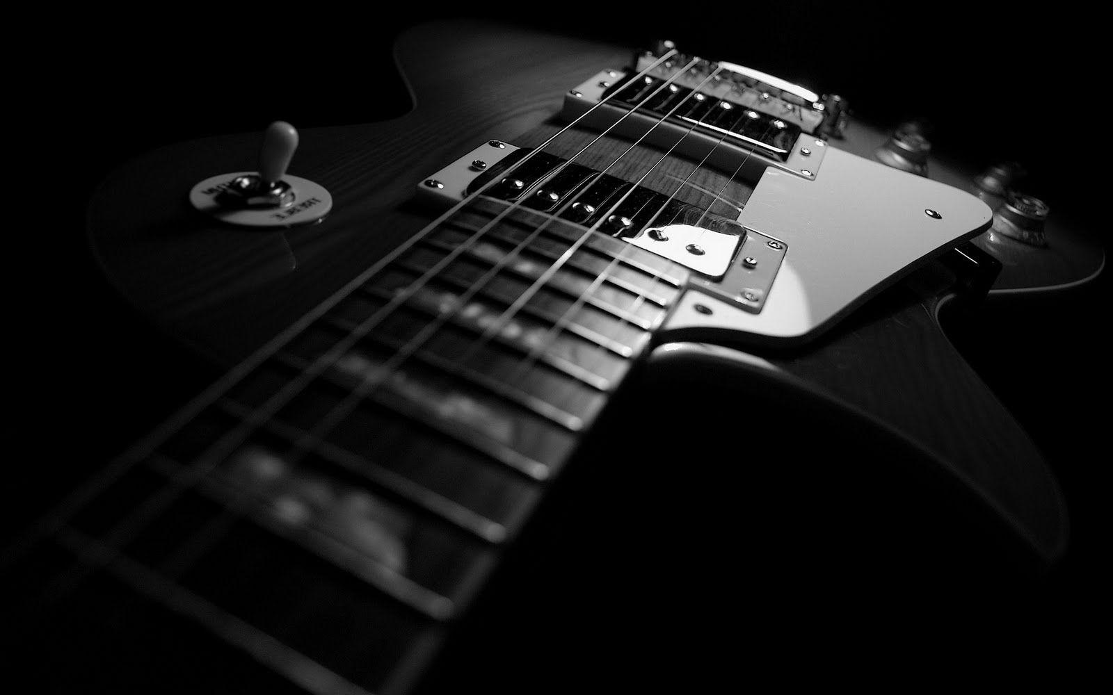 fond d'écran de la guitare en noir et blanc   Noir et blanc, Guitare électrique noire et Clair ...