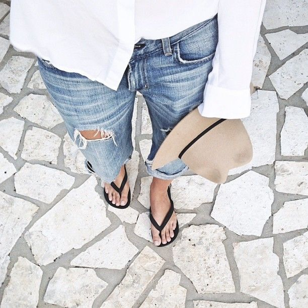 distressed jeans black flip flops - simple summer style find more women fashion ideas on www.misspool.com