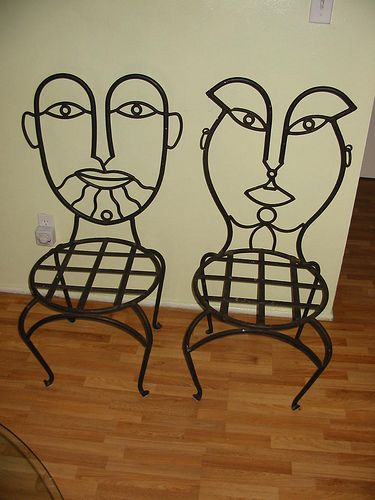 Wrought Iron Chairs Faces On The Back 225 00 Each One By