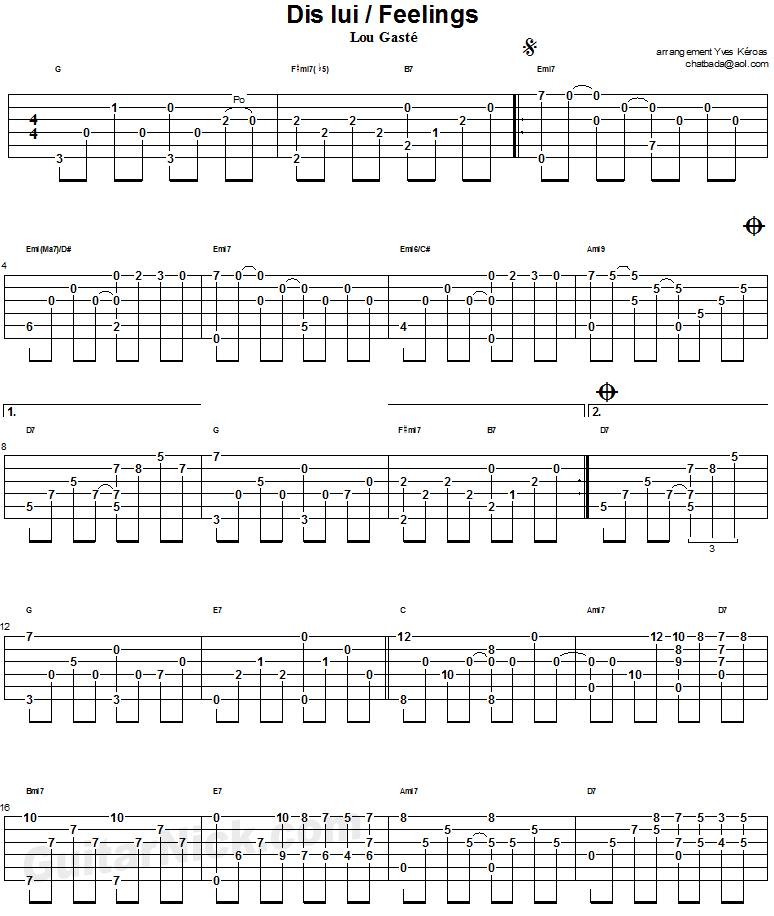 Guitar besame mucho guitar chords and lyrics : Feelings - guitar tab 1 | คอร์ดกีตาร์ | Pinterest | Guitars ...