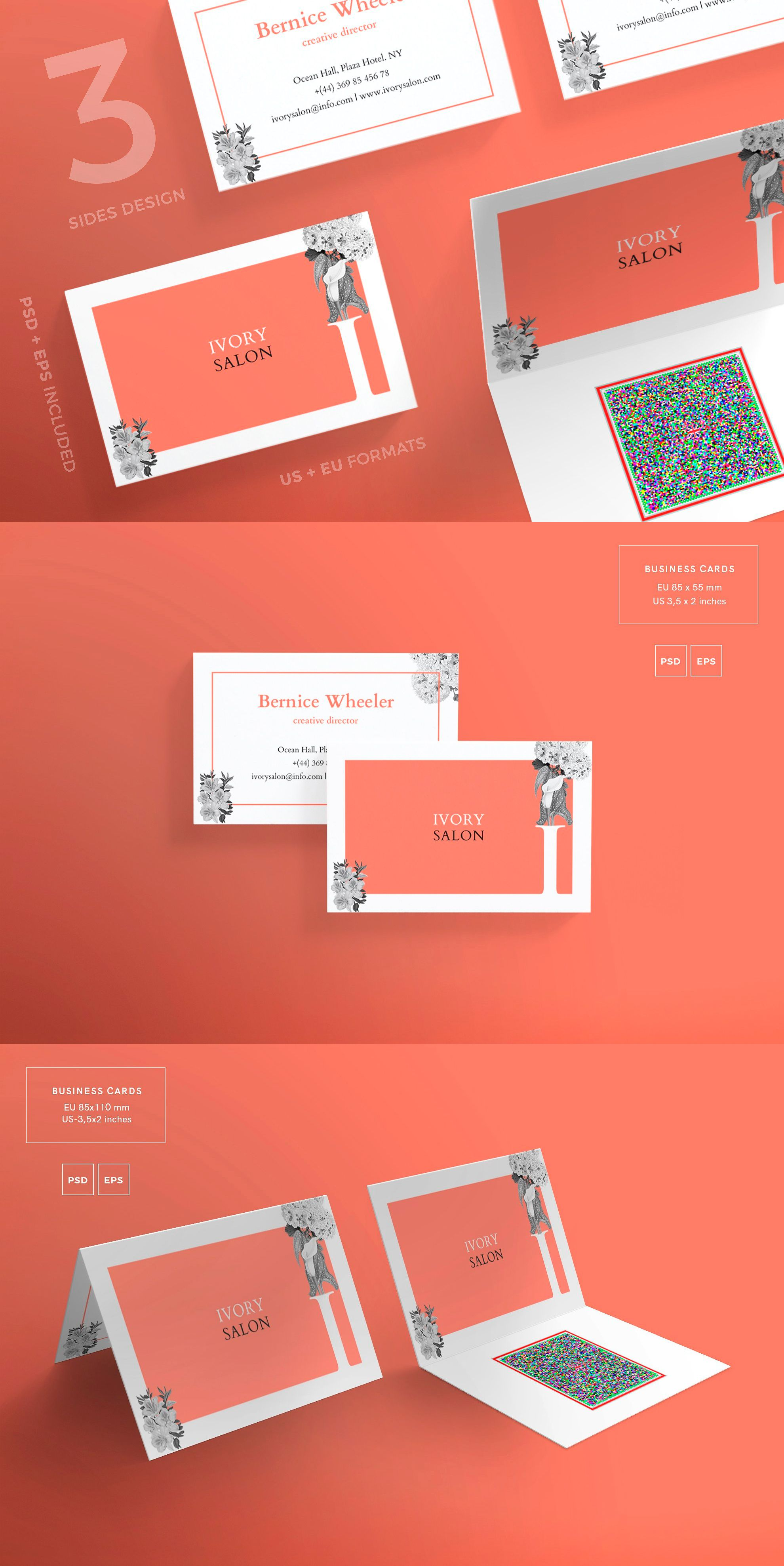 business cards templates ivory salon psd eps pdf business card