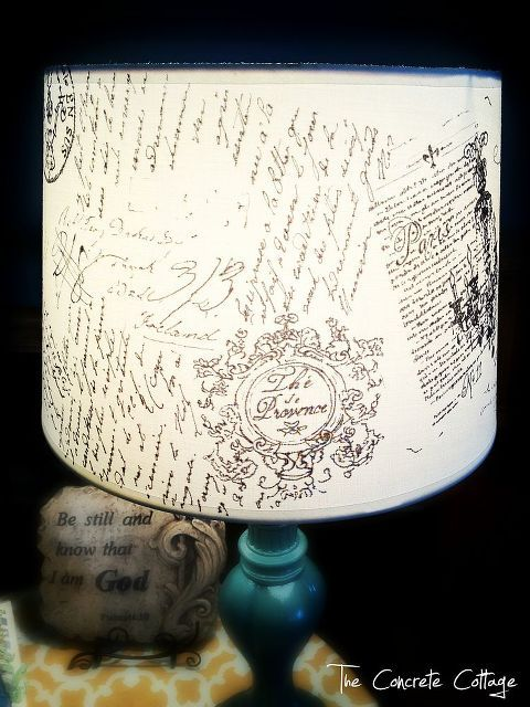 diy french script lamp shade, crafts, home decor
