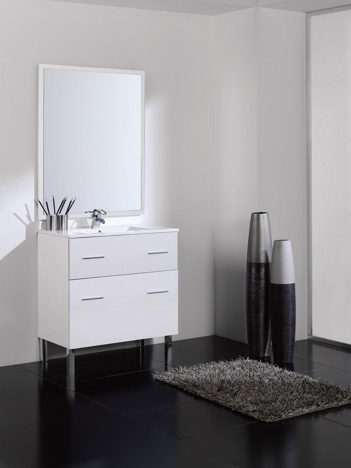 Muebles De Baño En Oferta | Oferta Mueble Bano Blanco Con Patas 2 Cajones Incluye Lavabo