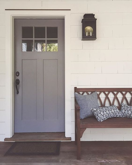 Our new front door color reveal cinder by benjamin moore the color was a bit interior or for Exterior door colors benjamin moore
