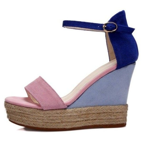 Color Block Wedge Sandals (€45) ❤ liked on Polyvore featuring shoes, sandals, block-heel sandals, pink wedge sandals, wedge heel sandals, high heel platform shoes and platform wedge sandals