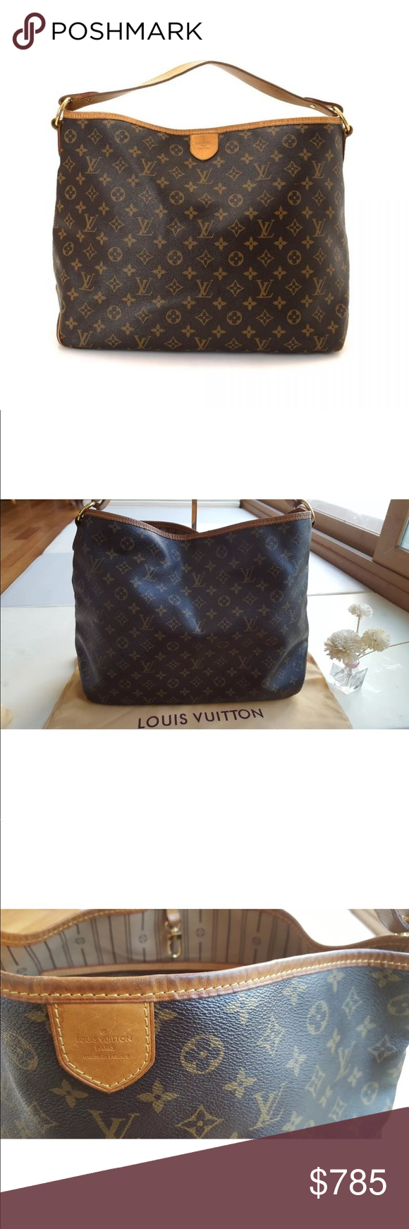 2cb17d572ce5 Authentic Louis Vuitton Delightful MM MONOGRAM This stylish shoulder bag is  finely crafted of classic Louis