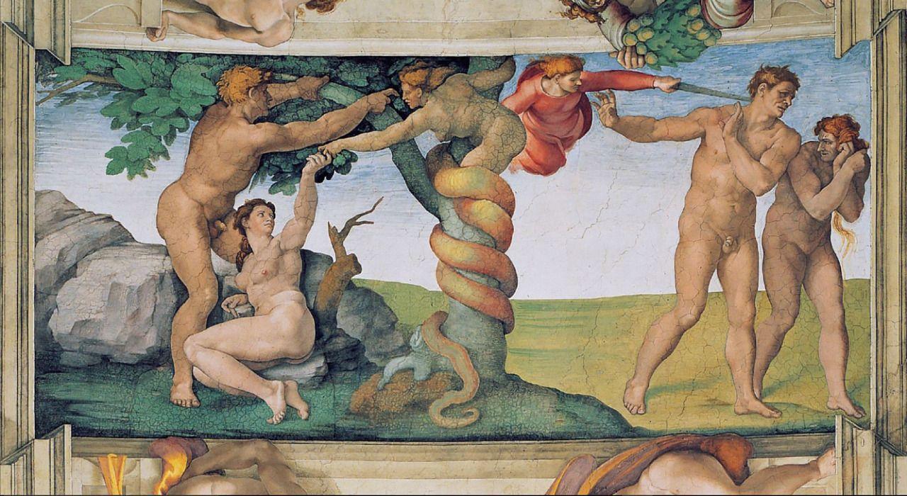 La Expulsión De Adán Y Eva Del Paraíso En La Capilla Sixtina Del Vaticano Adan Y Eva Capilla Sixtina Boveda De La Capilla Sixtina