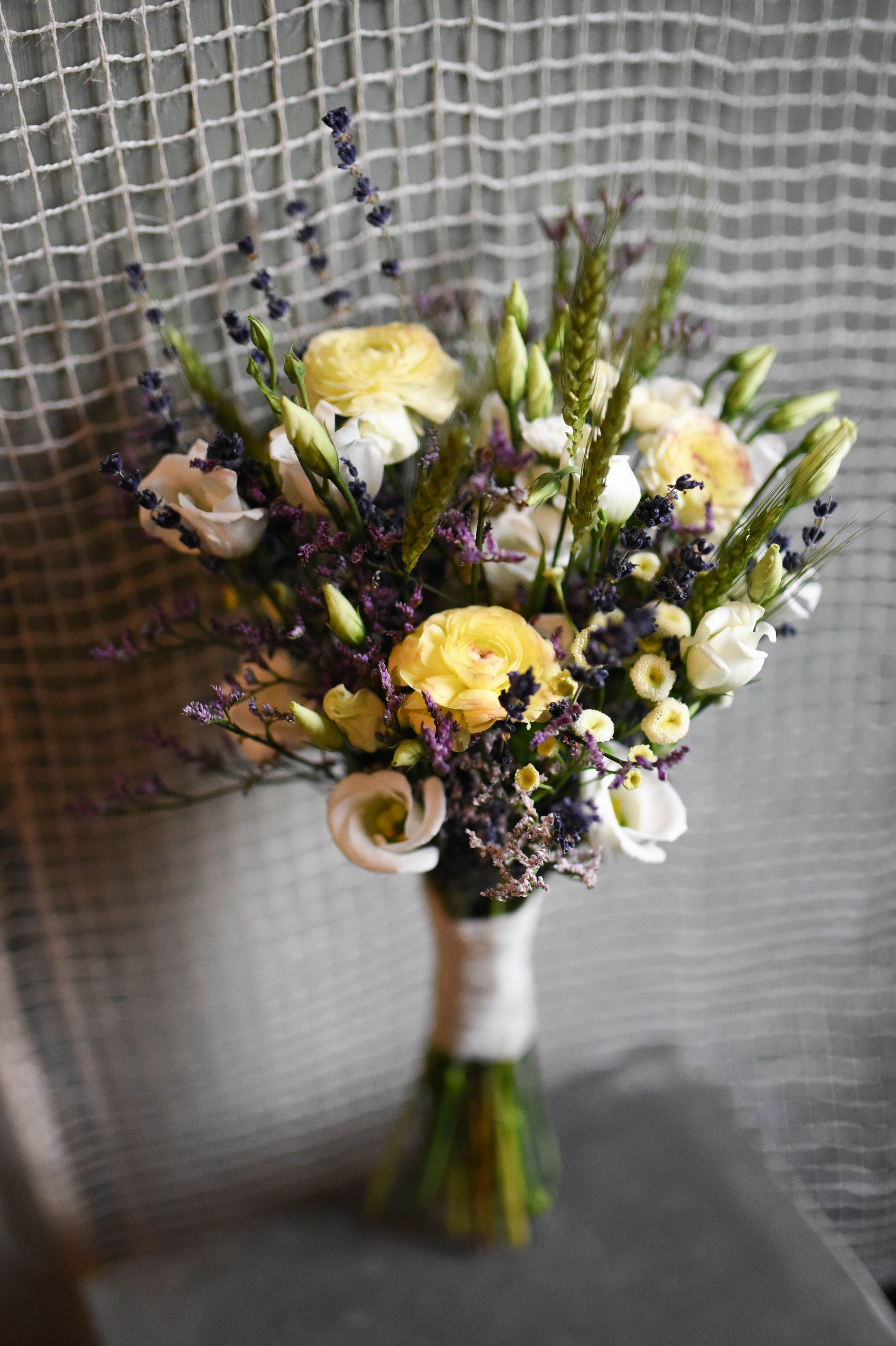 Seaside Wildflower Wedding Bouquet Featuring Wheat Statice