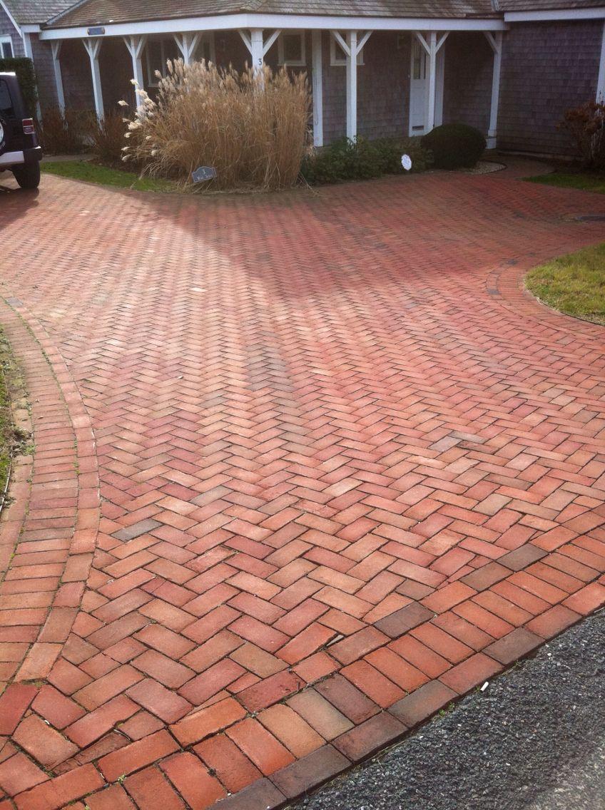 Brick Driveway Herring Bone Pattern Nantucket Brick Driveway