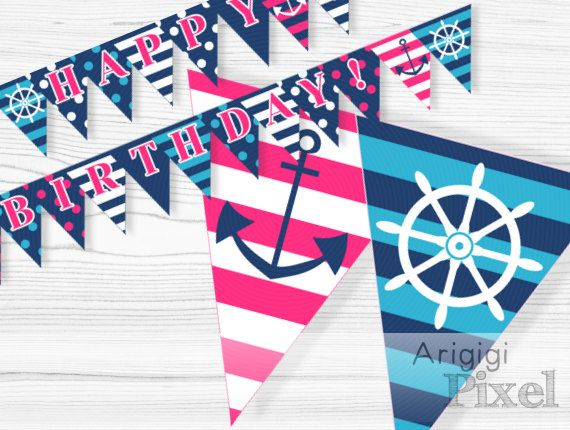 Happy Birthday Party Banner nautical printable PDF by ArigigiPixel