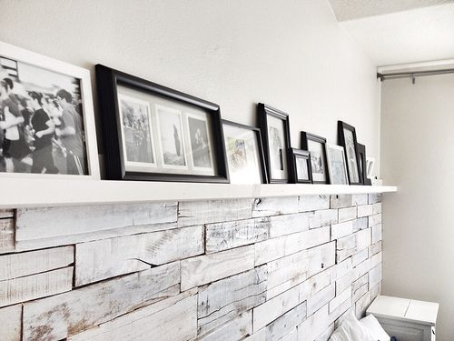 Whitewashed Pallet Wall And Mantle Pallet Palletdecor