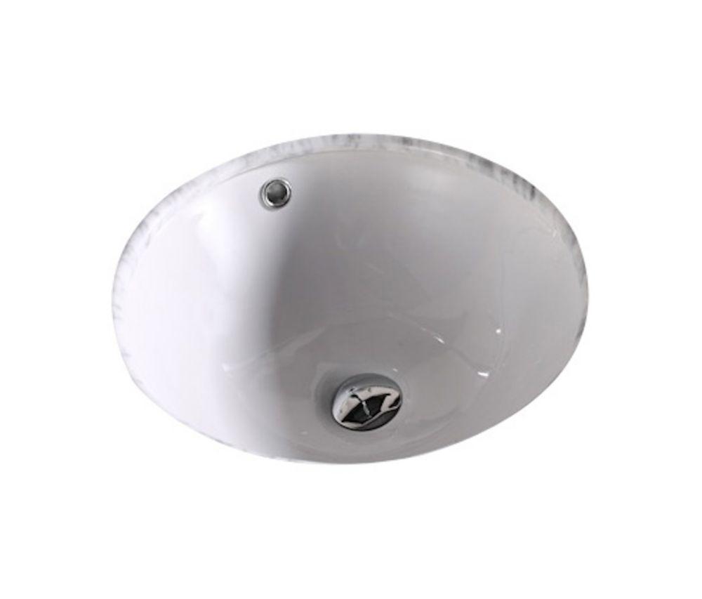 16 Inch W X 16 Inch D Round Undermount Sink In White With Enamel