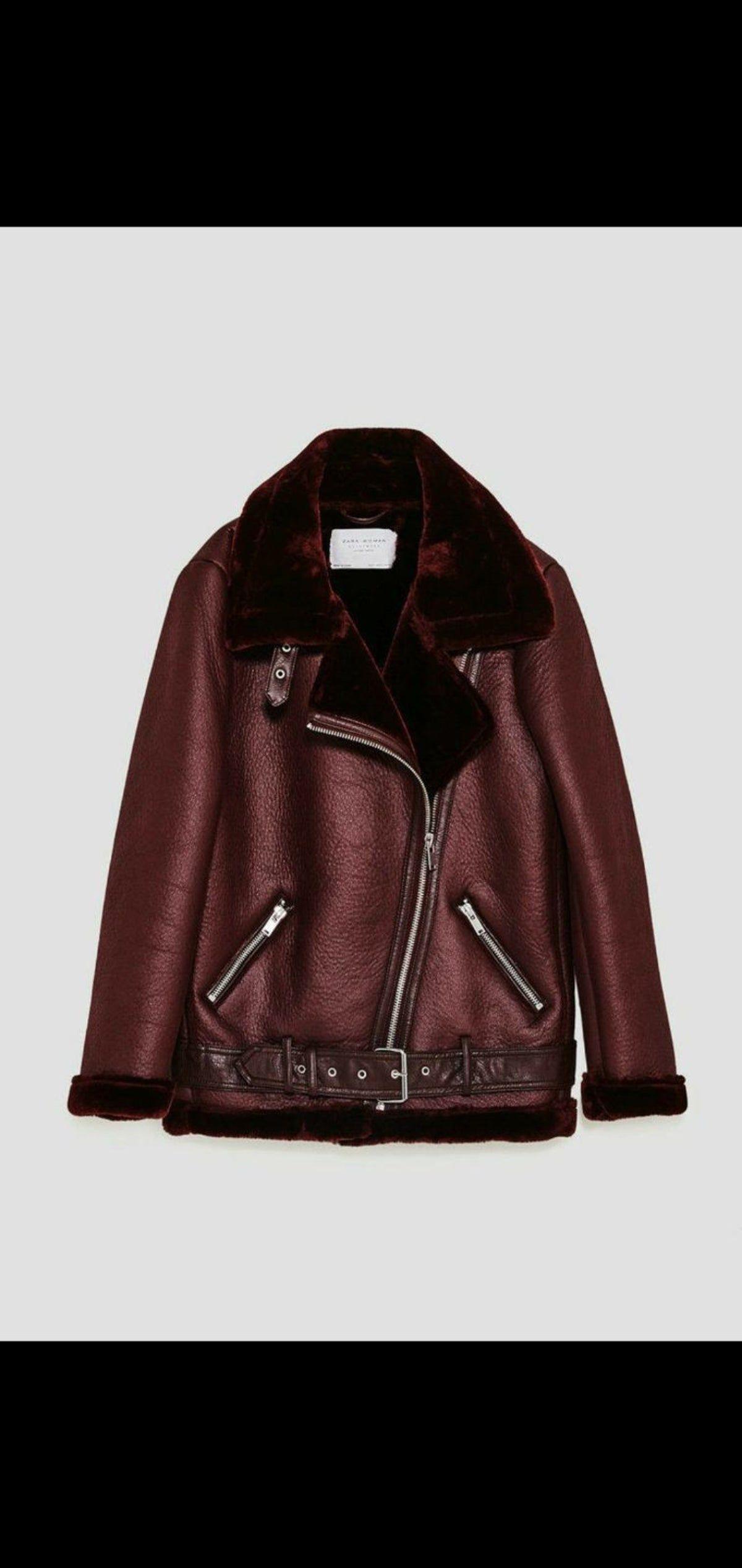 ZARA biker faux shearling jacket/coat. in 2020 Faux