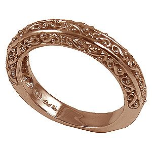 14k Rose Gold Antique Fancy Filigree Wedding Band Ring  PAST  Where