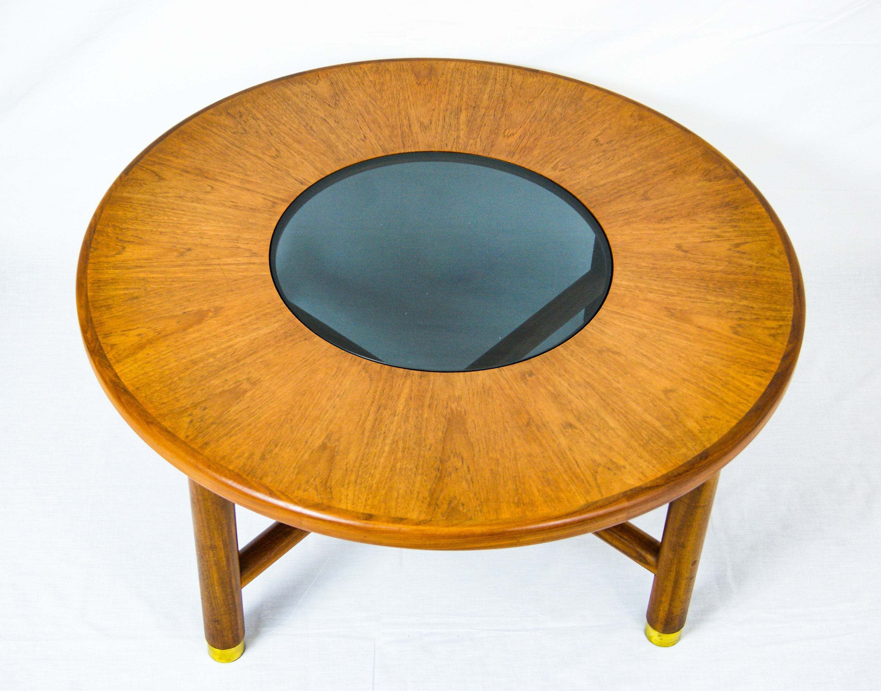 G Plan Teak Wood Round Coffee Table With Smoked Glass Top And Brass Feet Round Wood Coffee Table Round Coffee Table Wood Rounds