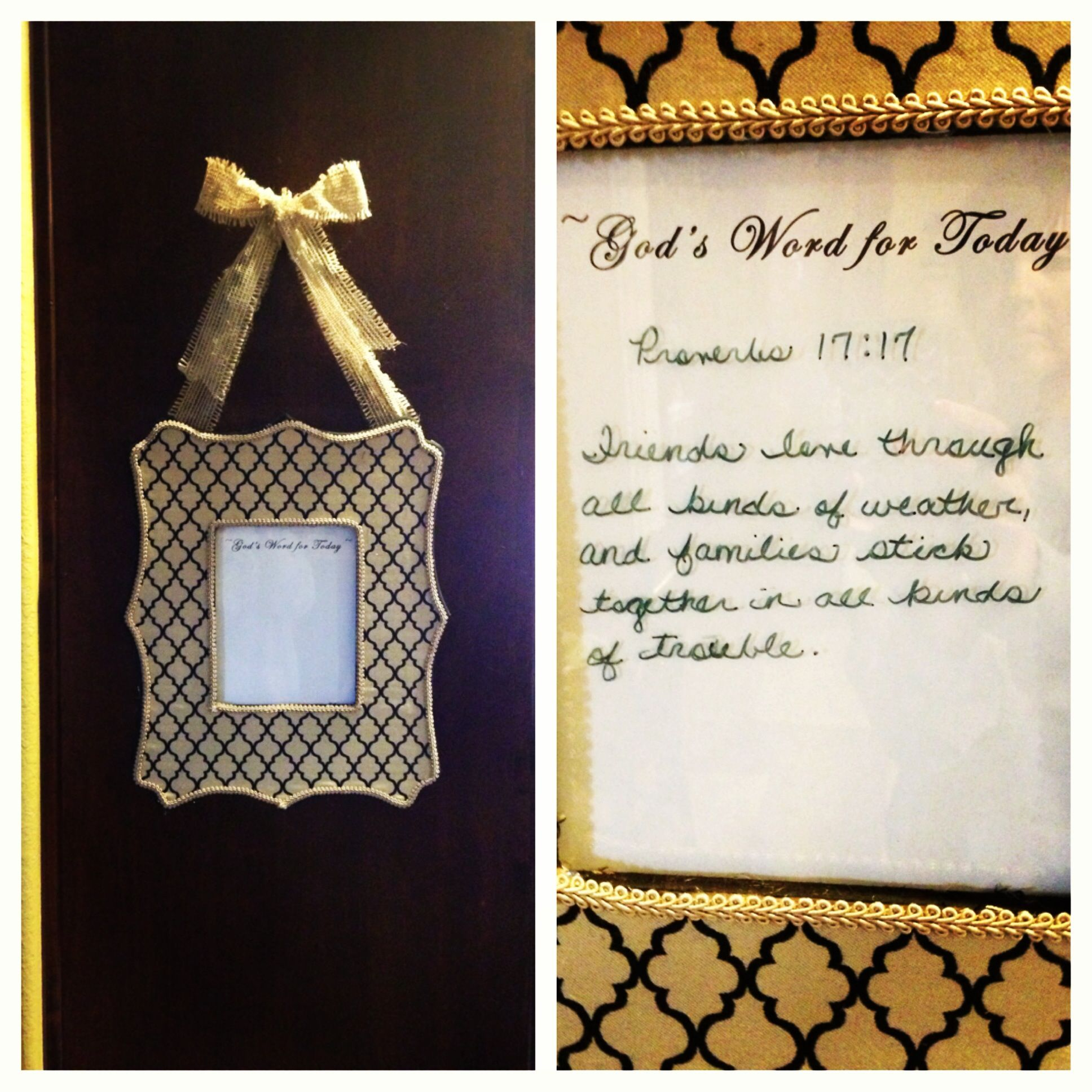 Craft pens to write on wood - Fabric Covered Wood Frame Use Dry Erase Pen To Write Bible Verse On