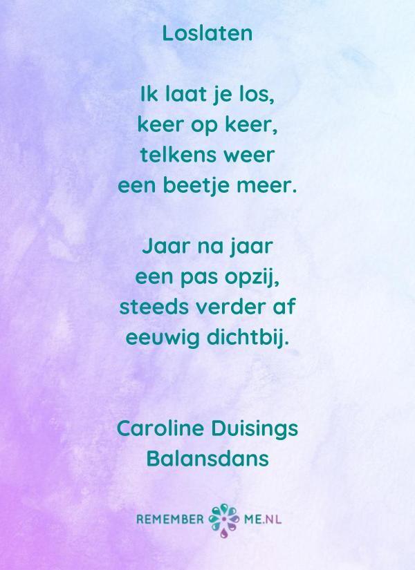 Vaak Een gedicht van Caroline Duisings over Loslaten. Het is moeilijk  #KN31