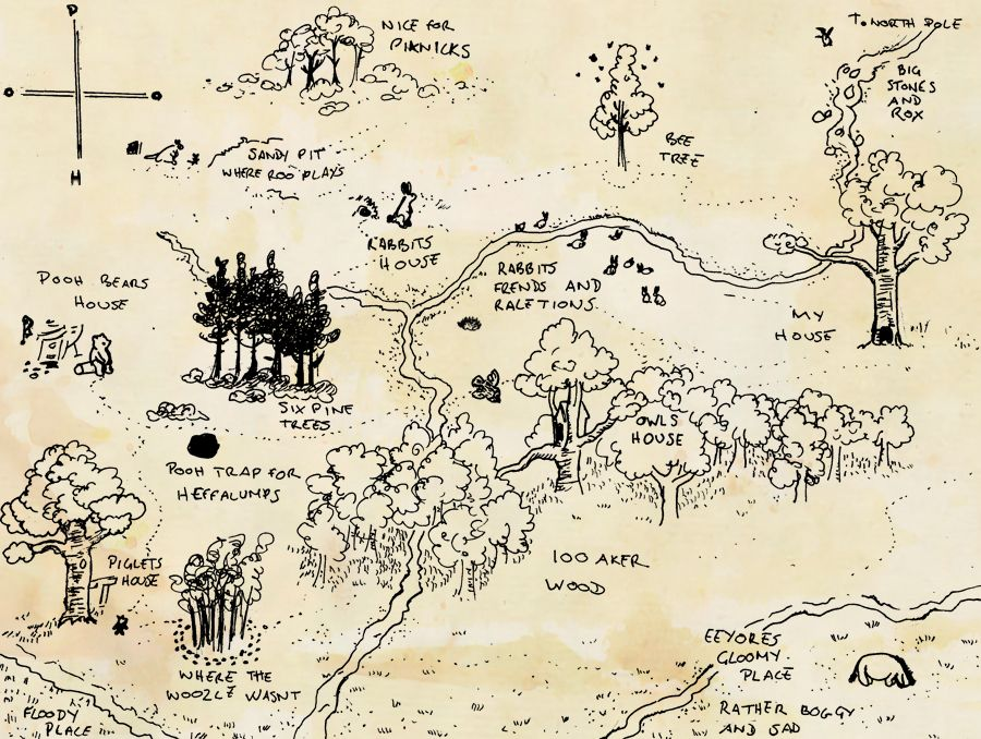 Map of the 100 Acre Wood, world of Christopher Robin and Winnie the Hundred Acre Wood Map Poster on 100 aker wood map, city map, drawing of a town map, gemini map, kingdom hearts 100-acre wood map, wooden story map, 100-acre wood rally map, 100-acre wood forest map, once upon a time map,