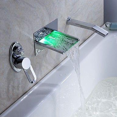 Led Wasserfall Badewanne Wasserhahn Mit Ausziehbarer Brause Wandmontage S2426 155 99 Duschwand Wand Wasserfall Badezimmerarmatur