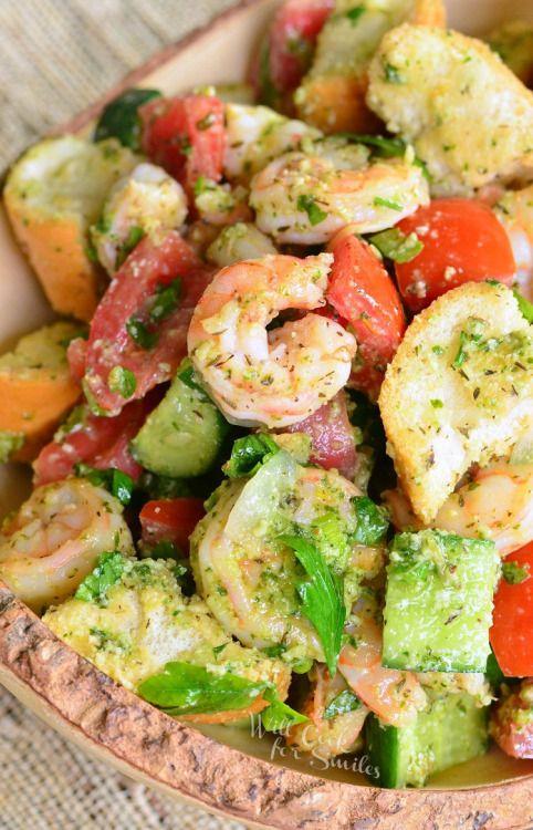 Panzanella Salad with Shrimp and PestoReally nice recipes. Every  Mein Blog: Alles rund um die Themen Genuss & Geschmack  Kochen Backen Braten Vorspeisen Hauptgerichte und Desserts