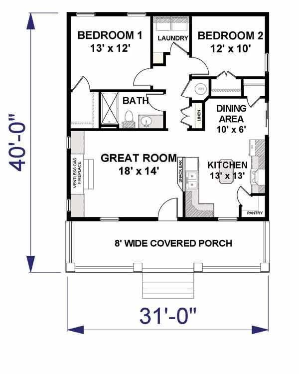 2 bedrm 992 sq ft small house plans house plan 123 1042 on small laundry room floor plans id=98926