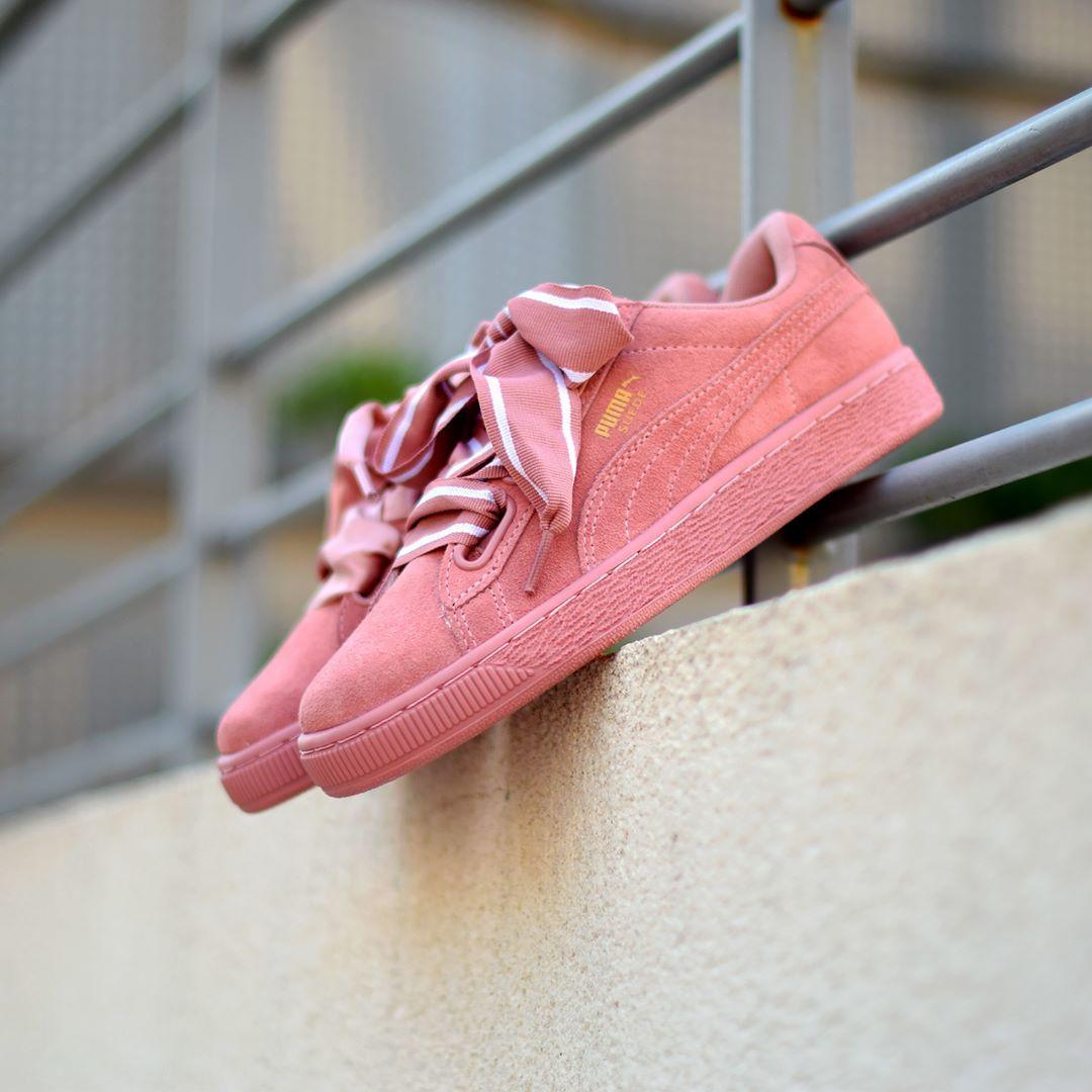 puma suede heart satin rosa