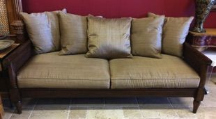 """WEST INDIES DAY BED  Beautiful West Indies style Henredon sofa for luxurious lounging— deep enough to serve as an extra bed. Dark wood with caned sides and back. Down cushions, gorgeous silk-blend upholstery. Henredon Acquisitions collection. 82"""" x 38"""" x 34"""" tall back"""