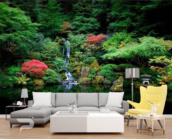 Japanese Garden Wall Mural Spring Lake Wallpaper Green Garden Wall