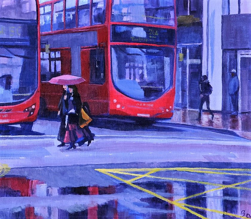 """Red Bus Reflections"" Wellesley Road in the rain"