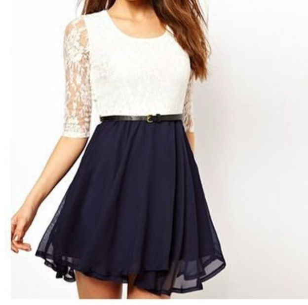 White shirt with a blue skirt
