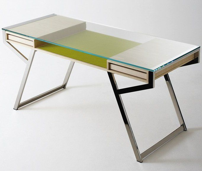 Crystal Writing Desk With Drawers Lui By Gallotti Design Paolo Maria Fumagalli Office Gallotti Radice Interior Meja