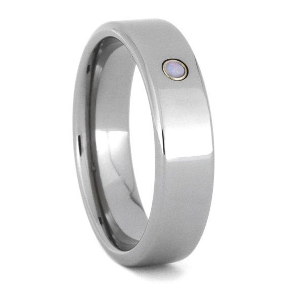Simple Opal Gemstone And Titanium Wedding Band Customize With