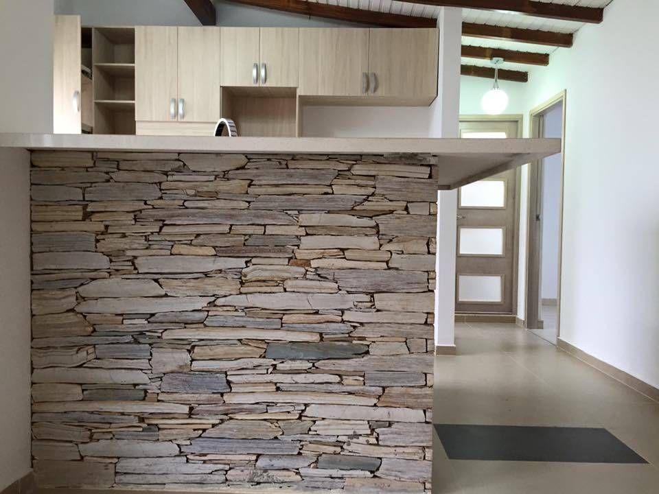 10 Maneras de revestir la pared de tu cocina con piedra | Laja ...