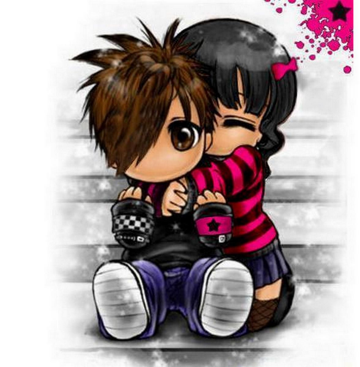 Friendship hugs boygirl lucky ones anime love chibi couple