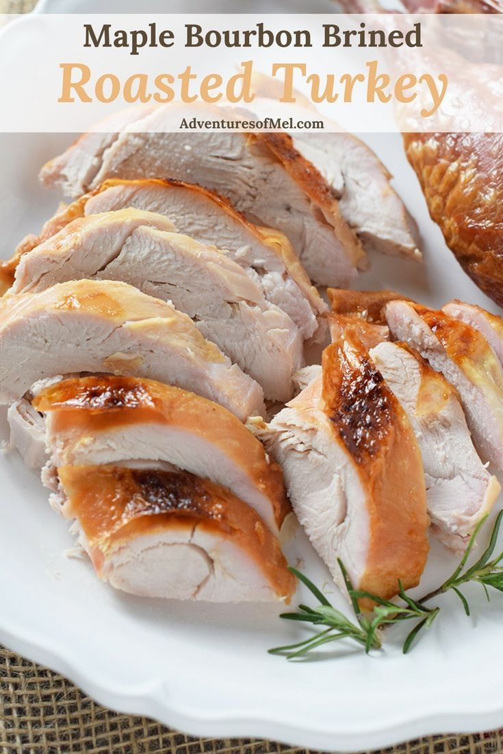 How to make the most delicious moist turkey you've ever had… Maple Bourbon Brined Roasted Turkey. Hands down my favorite turkey recipe. #turkey #brined #roasted #Thanksgiving #holidaydinner #dinner