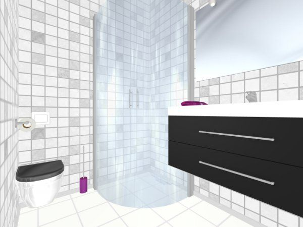 Isn T This Bathroom Amazingly Clean 3d Bathroom Floor Plan With Purple Accents Designed In Bathroom Floor Plans Home Design Software Create Floor Plan