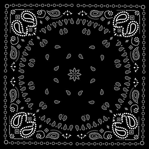 black with white bandana patterns design vector 01