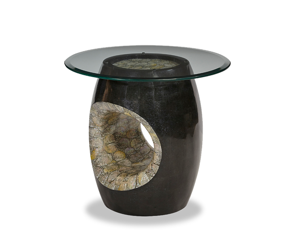 Round Accent Table w/Glass Top & Blackstone | Discoveries - | Michael Amini Furniture Designs |
