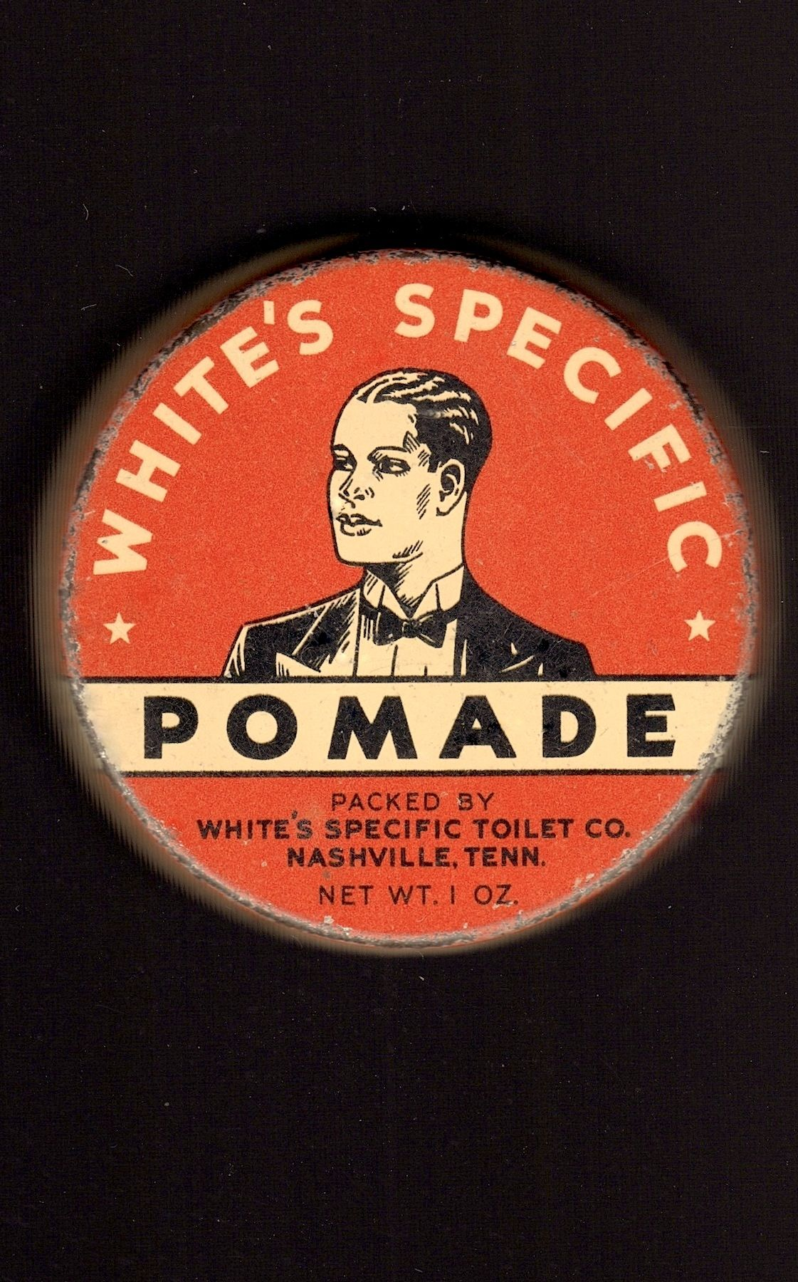 WHITE'S SPECIFIC POMADE (Nashville Tennessee) 1930's vintage original tin of hair grooming wax. (Please follow minkshmink on pinterest)