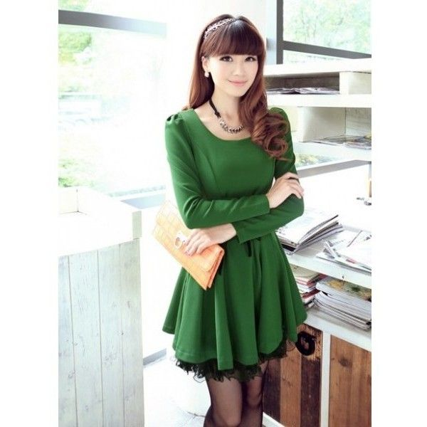 Puff Sleeve Women Autumn New Style Korean Style Slim Sweet Lace Long... ($26) via Polyvore