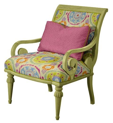 Admirable Norwalk Ashley Chair In Colorful Ikat Print With Soft Green Lamtechconsult Wood Chair Design Ideas Lamtechconsultcom