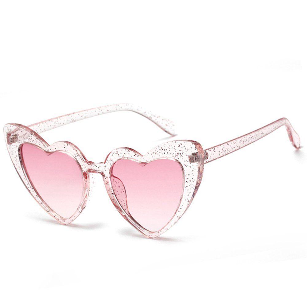62da02ecd979 Amazon.com  Love Heart Shaped Sunglasses Women Vintage Cat Eye Mod Style  Retro Glasses (babipink
